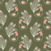 Lewis & Irene Home Sweet Home - 4167 - Peacocks on Green - A99.3 - Cotton Fabric